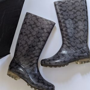 Coach Monogrammed Pixy Gray Clear Rain Boots
